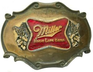 Vtg Beer Belt Buckle Miller Lite Label Alcohol Can Bottle Advertising Brass Red