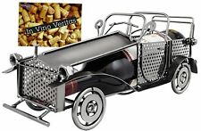 """BRUBAKER Wine Bottle Holder """"Classic Car"""" - Metal - with Greeting Card"""