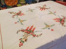 New listing Vintage Christmas Candles and Ornaments Tablecloth 62x62 Scalloped-Cross Stitche