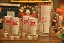 Vintage Miller High Life Beer Glass Mugs and Pitcher Set