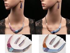 Trendy dark blue pink enamel strips ribbon statement necklace drop earrings N91