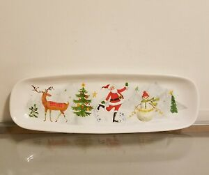Pottery Barn Jolly Santa Stoneware Cookie Serving Platter NEW