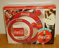 Vintage 1996 Coca-Cola 12 Piece Dinnerware Set by Gibson (New In Box) Box Rough