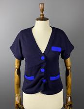 Marc Jacobs Women's Knitted Navy Blue Short Sleeve Wool Cardigan Jumper Sz M