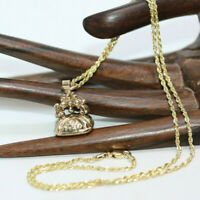 """Antique Victorian Agate Seal Signet Solid 9K Gold Pendant 10K Rope Necklace 18"""""""