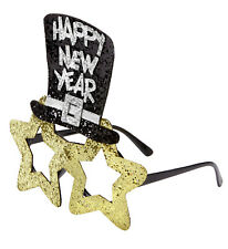Happy New Year GOLD Brille mit Sterne Zylinder, Silvester Party Damen Herren