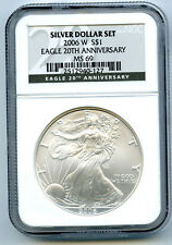 2006 W $1 20TH ANNIVERSARY SILVER EAGLE DOLLAR NGC MS69 FROM SET BLACK LABEL