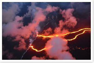 Lava Flows At Ocean Coastline 2018 Kilauea Volcano Hawaii Silver Halide Photo