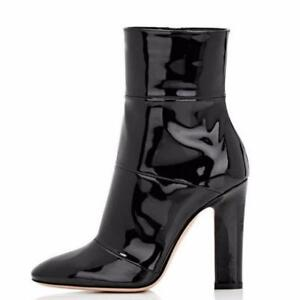 Women Occident Fashoin Pointy Toe Block High Heel Faux Patent leather Ankle Boot