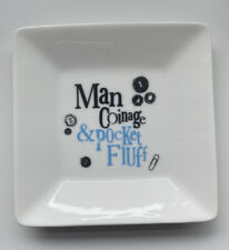 The Bright Side Bone China Coin Tray 'Man Coinage & Pocket Fluff' With Box Gift