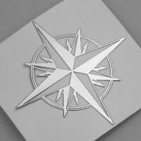Kompass Aufkleber Stern Auto Motorrad Sticker Compass Silber Wandern Camping