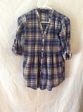 Miley Cyrus/Max Azra Plaid Blouse ~ XS ~ Blue ~ Roll-Up Sleeves