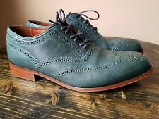 FLORSHEIM Duckie Brown Pebble Green Leather Brogue Oxfords Size 9 D Retail $355