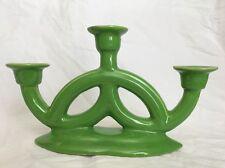 Antique Leaf Green Ceramic Candleholder Industria Boliviana South America