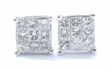 Platino Diamante Talla Princesa Invisible Set Pendientes de Presión Cuadrados
