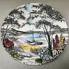 VINTAGE COSTAL SCENE DINNER PLATE BY WH GRINDLEY & CO,STAFFORDSHIRE ENGLAND