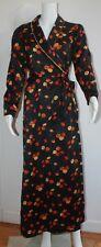 Christian Dior Full-Length Black Silk Robe With Orange & Yellow Flowers