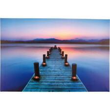 Wandbild LED Bild Steg Meer beleuchtet 60x40 cm Leinwandbild Leuchtbild Leinwand
