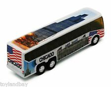 Chicago Tour Coach Bus with Willis Tower Soldier Field & Navy Pier 1:64 Scale