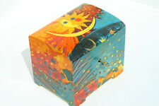 Wood handmade hinged lockable medium trinket chest box decoupage Sun