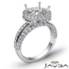 Halo Pave Semi Mount Platinum 1.4Ct Round Diamond Engagement Split Shank Ring