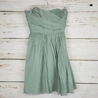 J.Crew Womens Dress Size 4 sage green Arabelle 100% silk chiffon strapless