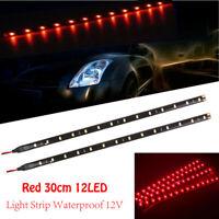 2x Red Waterproof 12 LED 30cm 5050 SMD Flexible Light Strips 12V Car Decor