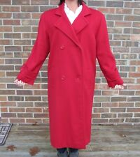 Vtg Long Red 100% Wool Ladies Dbl Breasted Style Chic Coat Womens Size 8