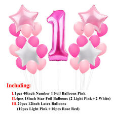 21pcs 1st Birthday Foil Balloons Party Decor Set Number Baby Shower Latex Baby