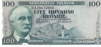 Iceland 1961 Sedlabanki Islands 100 Kronur Uncirculated Bank Note