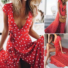 Women Boho Long Maxi Dress V Neck Polka Dot Summer Party Beach Split Sundress