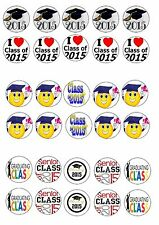 CLASS OF 2015 HAPPY GRADUATION EDIBLE RICE WAFER PAPER CUP CAKE TOPPER X30