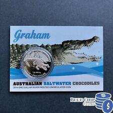 2014 $1 UNC AUSTRALIAN SALTWATER CROCODILES 1oz  SILVER COIN ON CARD