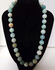 Vintage 12mm 400Ct Aqua Amazonite Stone Bead Beaded Necklace 82 Grams