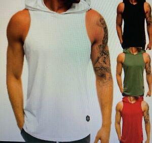 Männer Sleeveless Plain Solid Hoodie Fitness Pullover Ärmel Sweatshirt T Shirt