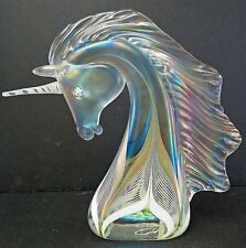 Stuart Abelman Art Glass Pulled Feather Rare Unicorn Signed and Numbered
