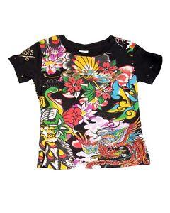 Super Cute Ed Hardy Girls Black Tee Shirt w/Birds Flowers Motif, Short Sleeve