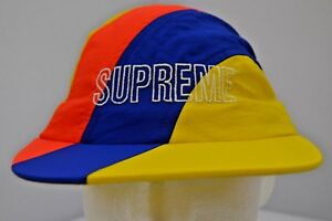 Supreme New York SS18 Diagonal Stripe Nylon Hat Yellow Strapback 100% Authentic