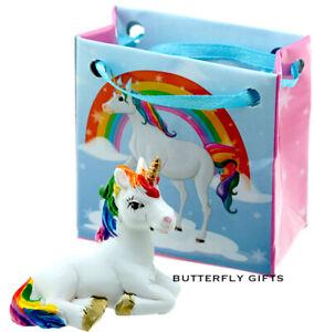 Rainbow Unicorn Figure in a Mini Gift Bag Magical Unicorn Figurine Ornament