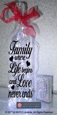 Family where Life begins and Love never ends - Bottle Sticker - Light Up Bottle
