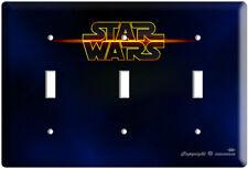Star Wars Logo Emblem Triple Light Switch Cover Plate Geek Room Art Decoration