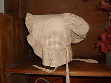 Early Antique Primitive Brown & Tan Homespun Bonnet 1800s?
