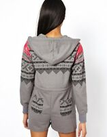 ONESIE LADIES WOMENS SHORT ALL IN ONE PIECE HOODED PLAYSUIT CHOICE OF COLOURS