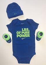 NEW Nike Air Jordan Infant 3 Piece Set Bodysuit Hat & Booties 0-6M Blue Green