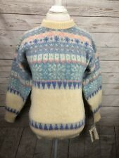 Vintage Nordic Wool Icelandic Ice Knit Paste Fair Isle Sweater Sz M Women's NEW