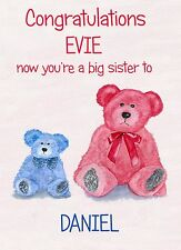 PERSONALISED NEW BABY CONGRATULATIONS BIG SISTER TO NEW BROTHER or SISTER BIRTH