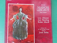 PUCCINI MANON LESCAUT LICIA ALBANESE JUSSI BJOERLING JONEL PERLEA BOX 3 LP LOOK