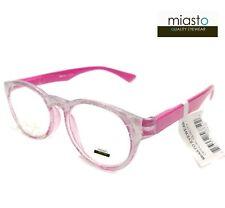 MIASTO RETRO PREPPY ROUND READER READING GLASSES +3.00 COLOR PINK PEARL WHITE