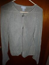 Woman's American Portrait Gray Button Front Long Sleeve Cardigan Size XL