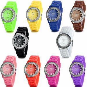 Silicone Rubber Jelly Colors Wrist Watch Rainbow Watch Kids Children Boys Girls